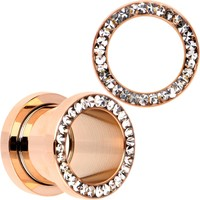 12 Gauge Clear CZ Gem Rose Gold PVD Bling Screw Fit Tunnel Plug Set
