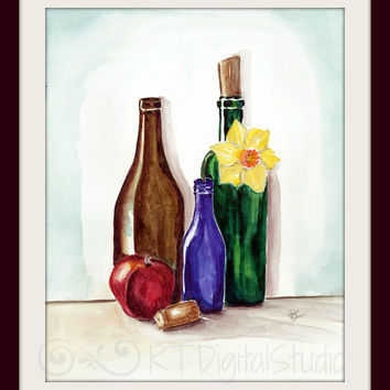 """Still Life Composition Wine Bottles,Apple and Daffodil- Size 8""""X10"""",Size 5""""x7"""",Watercolors Original Art Print, Contemporary Art, Home Decor"""