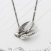 Sterling Silver Bird Necklace, Small Victorian Style Sparrow Bird in Flight Pendant Boho Bohemian Love Token Bridal Anniversary Gift Jewelry