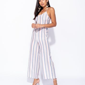 Vertical Multi Stripe Cami Wide Leg Jumpsuit