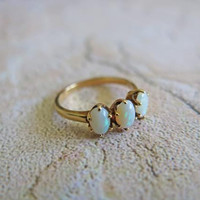 Vintage Opal Engagement Ring Opal Anniversary Ring Three Stone Ring 14K Vintage Ring Size 6 1/2 14K Gold Ring