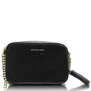 MICHAEL Michael Kors Women's Pebbled Leather Ginny Crossbody Bag Black