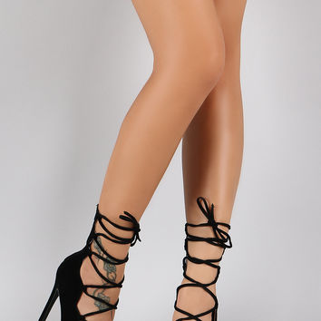 Shoe Republic LA Suede Corset Lace Up Peep Toe Stiletto Bootie