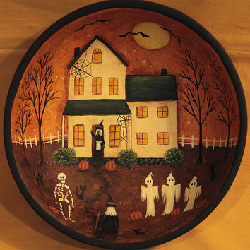 Halloween Folk Art Primitive Wood Bowl - MADE TO ORDER - Haunted Saltbox House, Witch, Ghosts, Skeleton, Black Cats, Spider Webs, Bats, Moon