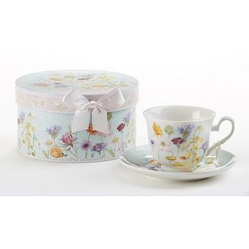 Gift Boxed Porcelain Tea Cup (Teacup)  & Saucer - Wildflower