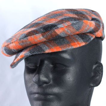 Mens Driving Flat Cap in Orange-Grey Wool Plaid | Custom S - XXL | Scally Golf Drivers Cap