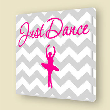 Just Dance Stretched Canvas Wall Art Girls Room Ballerina Stretched Canvas Dancing Wall Art VWAQ-A148