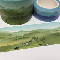 Grassland landscape washi tape 5Mx 3cm Green grass farm cow green view wide tape Masking tape Green world nature scenes sticker tape decor