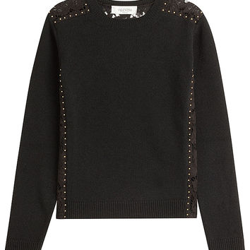 Valentino - Wool Pullover with Stud Embellishment and Lace