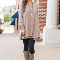 Lightly Layered Tunic, Mocha