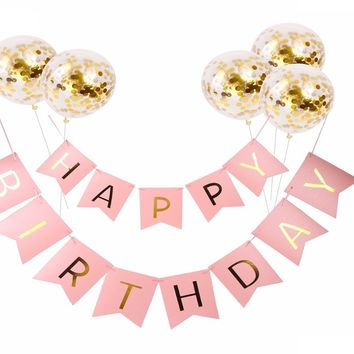 Happy Birthday Banner Gold Confetti Balloons Letter Banner