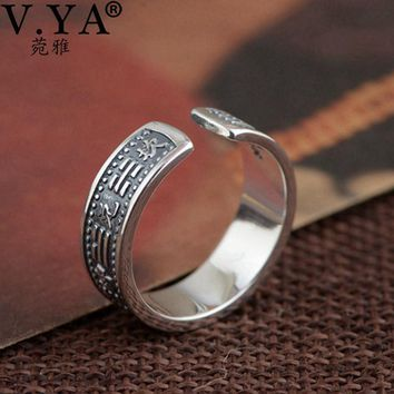 V.YA Chinese The Eight Trigrams Pattern Rings Pure 925 Sterling Silver Retro Open Finger Ring For Men Women Jewelry High Quality