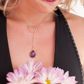 Bela Lariat Necklace - Amethyst (BJN001)