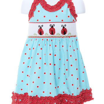 Toddler Ladybug Smocked Tie Dress