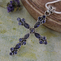 Sapphire Sterling Silver Cross Pendant/Necklace