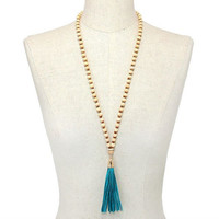 Gold, Ivory & Turquoise Tassel Drop Wood Bead Strand Long Necklace