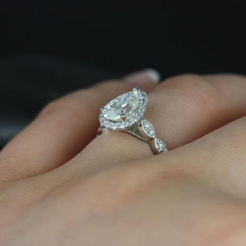 Sydney 14kt White Gold Pear FB Moissanite, Diamonds Halo Leaves WITHOUT Milgrain Engagement Ring (Other metals and stone options available)