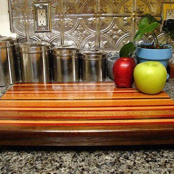 Handmade Large Wood Cutting Board - The Autumn Harvest - Hard Maple & Bloodwood