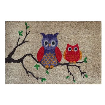 """A1HC -FIRST IMPRESSION Owl Tufted Bleached Coir Doormat, 18"""" X 30"""""""