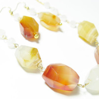 Geometric Nugget Necklace and earring combo - Natural Red and White Agate Faceted Nuggets ,Opal faceted crystals and Gold