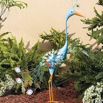 Metal Peacock Bird Garden Yard Art Statue Sculpture Lawn Patio Deck Decor