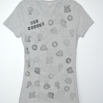 OLD SCHOOL Stamped Gray Tee Fitted T-Shirt S