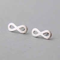 SURFACE SILVER INFINITY SYMBOL EARRINGS STUD INFINITY SIGN JEWELRY by Kellinsilver.com - Fashion Jewelry Online SHop as ETSY