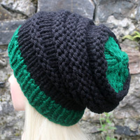 Hand Knit Hat- OceanShell Hat -slouchy -beanie hat- black and forest green- winter hat