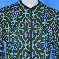 60s Black Green Blue Jacquard Knit Cardigan Sweater Women's Small