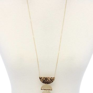 Snake pattern semi circle necklace and earring set