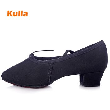 Canvas Jazz Sneakers Women Girls Ladies Dance Shoes Teachers Practice Salsa For Ballroom Dancing Slippers Ballet Soft Sole Shoes