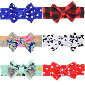 1PC Fashion Girls Bow Knot Headband Bowknot Flower Soft Christmas Cotton Headdress Hairband Hair Band Accessories
