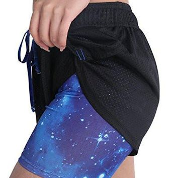 Women's Sports Yoga Running Shorts Quick Dry Double Mesh Spandex Workout Fitness