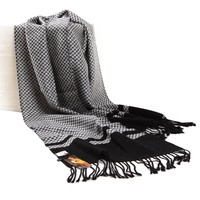 ZLYC Unisex Classic 100% Wool Two-Tone Herringbone Print Lager Scarf Wrap Shawl with Tassels
