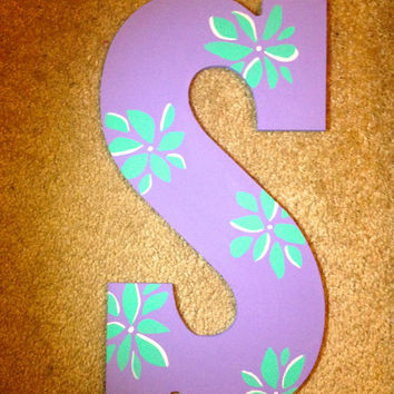 Hand Painted Wooden Letter S // Wall Decoration //