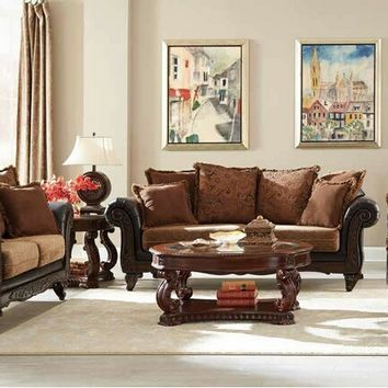 2 pc Garroway collection 2 tone russet chenille fabric and chocolate faux leather upholstered sofa and love seat set with wood trim arms