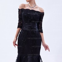 Great Mermaid Portrait Lace/Ruched/Sequins Tea-length Half-Sleeve Zipper Lace Black Prom Dress (KDPD1138) - $169.00