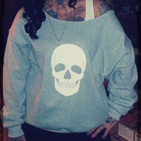 SKULL  sweater, Off The Shoulder, Over sized, loose fitting, grunge