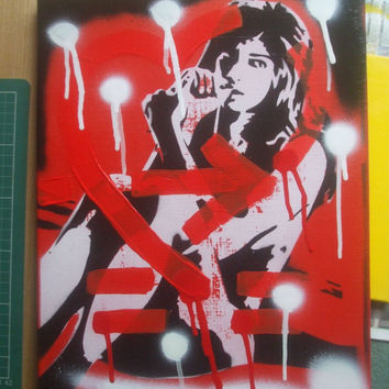 Amy Winehouse painting,shot through the heart,stencil art,spray paints,canvas,icon,27,music,soul,fine art,pop,abstract,london,united kingdom