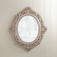 Vintage Round Wall Mirror - White