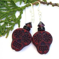 Sugar Skull Earrings, Burgundy Black Day of the Dead Handmade Jewelry