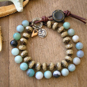"Boho knotted bracelet ""Summer Crush"" amazonite bracelet beach jewelry, sundance artisan silver bronze, heart charms leather bohemian jewelry"