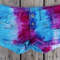 Pink and Blue Dyed Guess Brand Denim Shorts