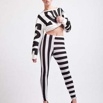 Awesome Stripes Easy Living Black and White Super High Waisted leggings