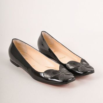 KUYOU Black Patent Leather Square Toe Flats