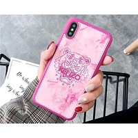 KENZO 2018 trendy men and women stylish iPhone6/7/8 mobile phone shell F-OF-SJK rose red
