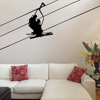 Ski LIft with Skiers, cable, chair and seats  Vinyl Design, Asian Art -Vinyl Decal - office design, living room