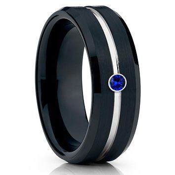 Black Wedding Band - Blue Sapphire - Tungsten Wedding Band - Men's Ring