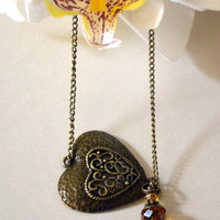 Heart Charm Antique Look Bracelet, Bronze Metal Chain Bracelet, Mothers Day Jewelry