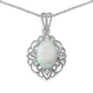 5.95 Carat Genuine Opal & White Topaz .925 Sterling Silver Pendant